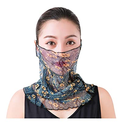 Simayixx Floral Chiffon Magic Turban Scarf Neck Gaiter for Women Outdoor Cycling Bib Dust UV Protection Dustproof (M, Free Size): Clothing