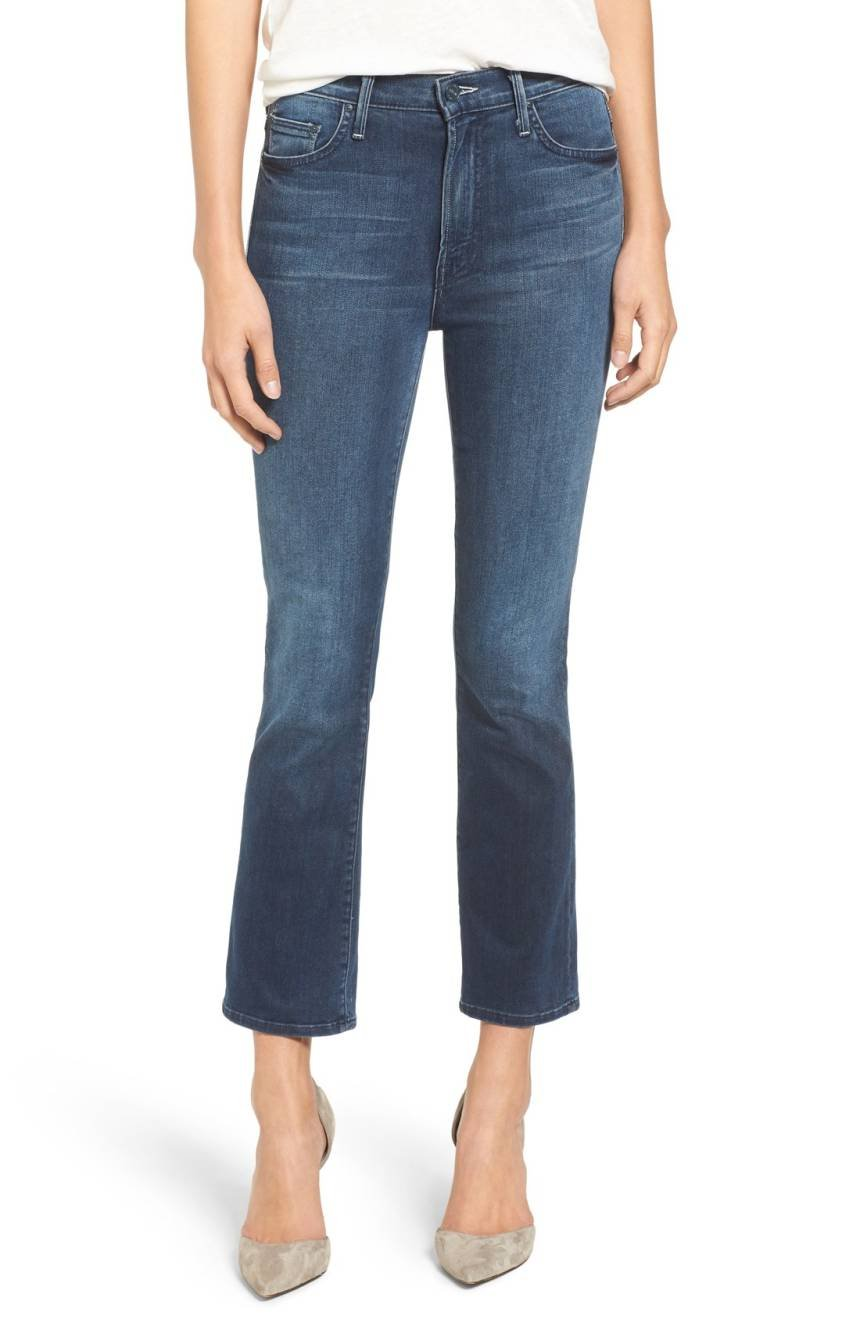 MOTHER Women's The Insider High Rise Crop Bootcut Jeans, Repeating Love Blue, 24