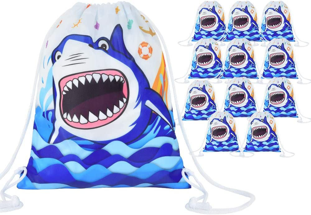 WERNNSAI Shark Party Drawstring Bags - 12 Pack 10'' x 12'' Party Favor Bags Blue Ocean Theme Party Supplies for Boys Birthday Summer Pool School Backpack Wrap Bags Washable Party Gift Goodie Bag