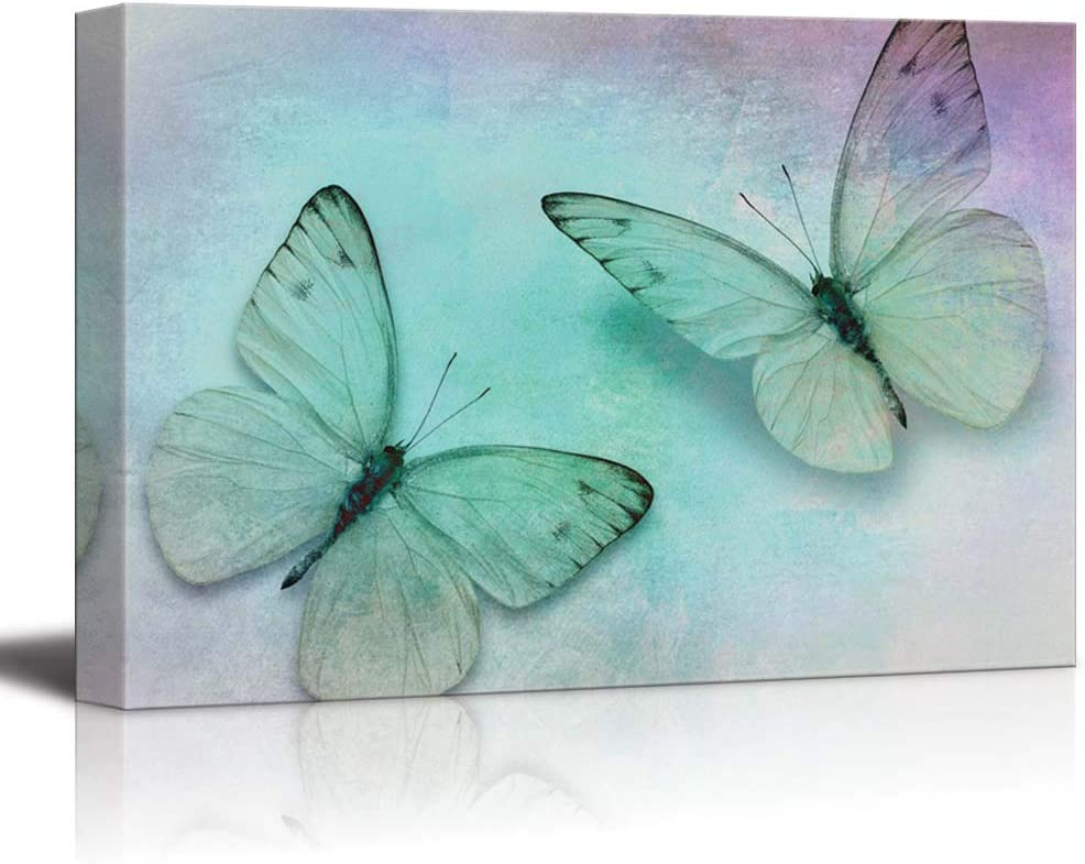 wall26 - Two Butterflies on a Canvas with Soft Shades of Blue, Purple and Grey - Canvas Art Home Art - 24x36 inches