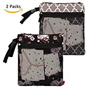 NiceEbag 2 pcs Baby Wet and Dry Cloth Diaper Bags Travel Nappy Organizer Bag Waterproof Reusable with Two Zippered Pockets(Grey Lantern and Black Rose)