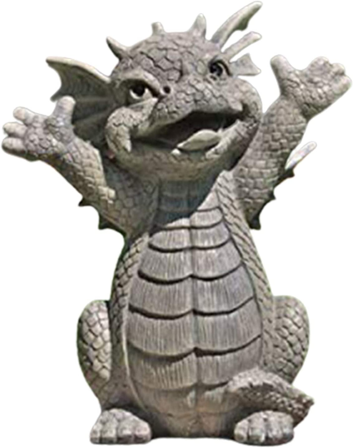 Meditated Dragon Statue, Resin Collecting & Decoration Ornament for Outdoor Garden Yard (16cm)
