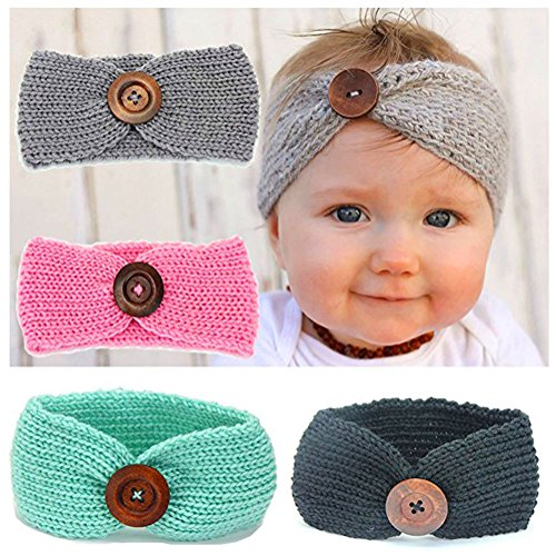 4 Pack of Baby Girl Headbands Knit Crochet Turban Warm Elastic Bow Headwrap Cute Bowknot Band (4 pcs set)