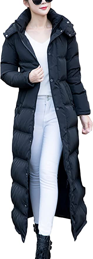 EOZY Mujer Abrigo Chaqueta Larga De Plum/ón con Capucha Invierno Negro