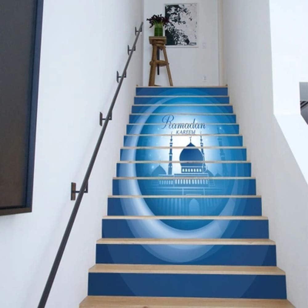 Bqsfr LT102 Nueva decoración de Ramadán islámica Pegatinas de escaleras a Prueba de Agua de renovación escaleras Creativas Pegatinas de pared-100 cm * 18 cm * 13 unids: Amazon.es: Hogar