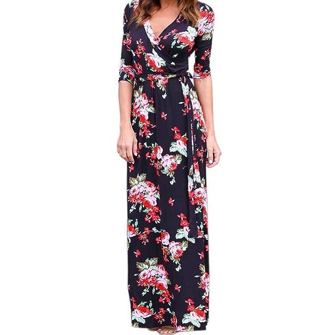 bb1223bed340 Switchali Vestidos de Mujer, Mujer Verano Cuello en V Boho Largo Maxi  Vestido Fiesta Nocturna Playa Vestir Floral Vestidos de Sol