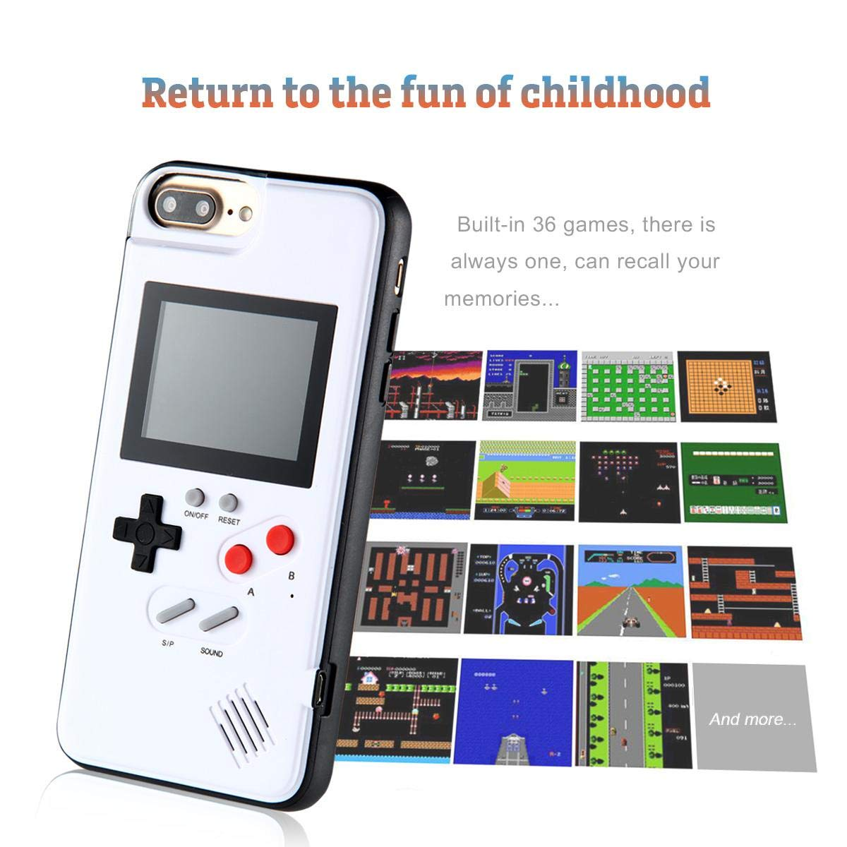Womdee Game Console iPhone Case, Handheld Game Console Case Cover with 36 Games Phone Case (iPhone 6p/7p/8p, White) by Womdee (Image #7)