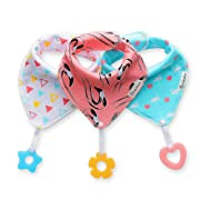 Baby Bandana Drool Bibs 3-Pack and Teething Toys 3-Pack Made with 100% Organic Cotton, Super Absorbent and Soft Unisex (Vuminbox) (Pink) …