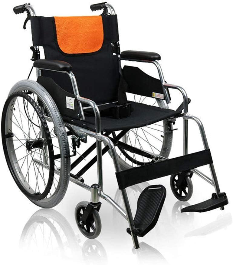 GBX@I Aleación de aluminio plegable ligera Silla de ruedas manual Coche portátil para caminar, Conducir suministros médicos para adultos médicos Neumático inflable gratuito Silla de