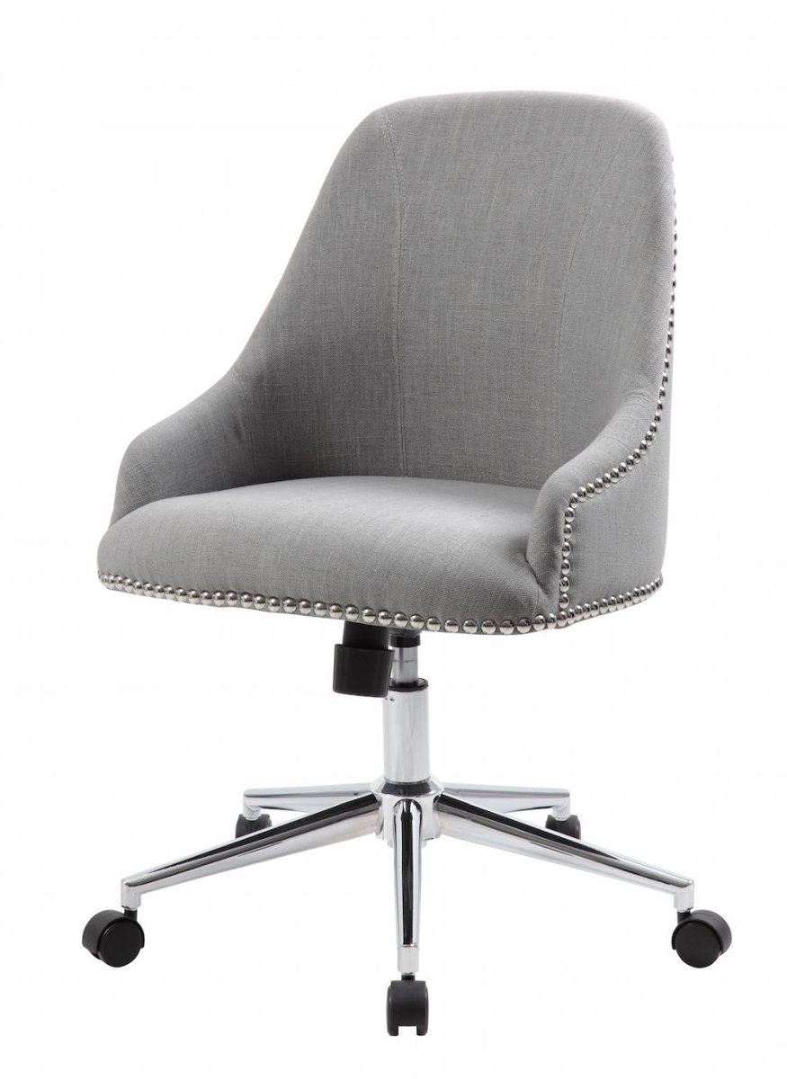 Norstar B516C-GY Grey Chair with Silver Nail Around Back & Arm44; Kd074 Base
