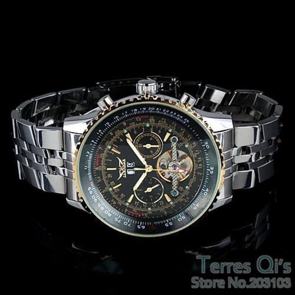 Amazon.com: Sportsy Jaragar Luxury Watch Men Day/Month Tourbillon Mechanical Watches Stell MenS Watch Wristwatch (Size: 5Cm, Color: Silver & Black): ...