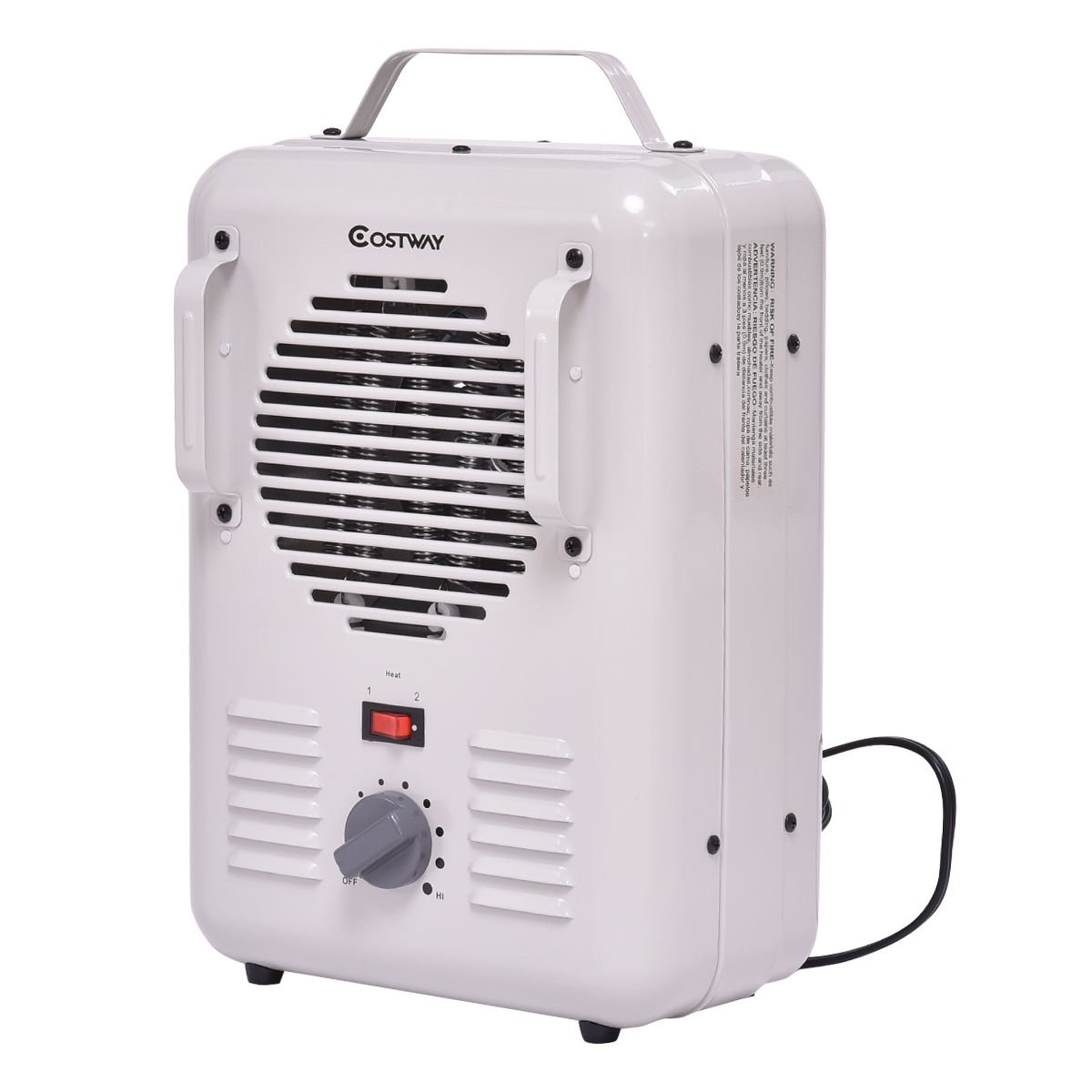 White 1300W 1500W Air Space Heater Electric Portable Lightweight Safety Tip-Over Utility Thermostat 2 Heat Settings Bedroom Bathroom Guest Living Room Air Heating Carrying Handle 9.5 x 5.1 x 14.5 in