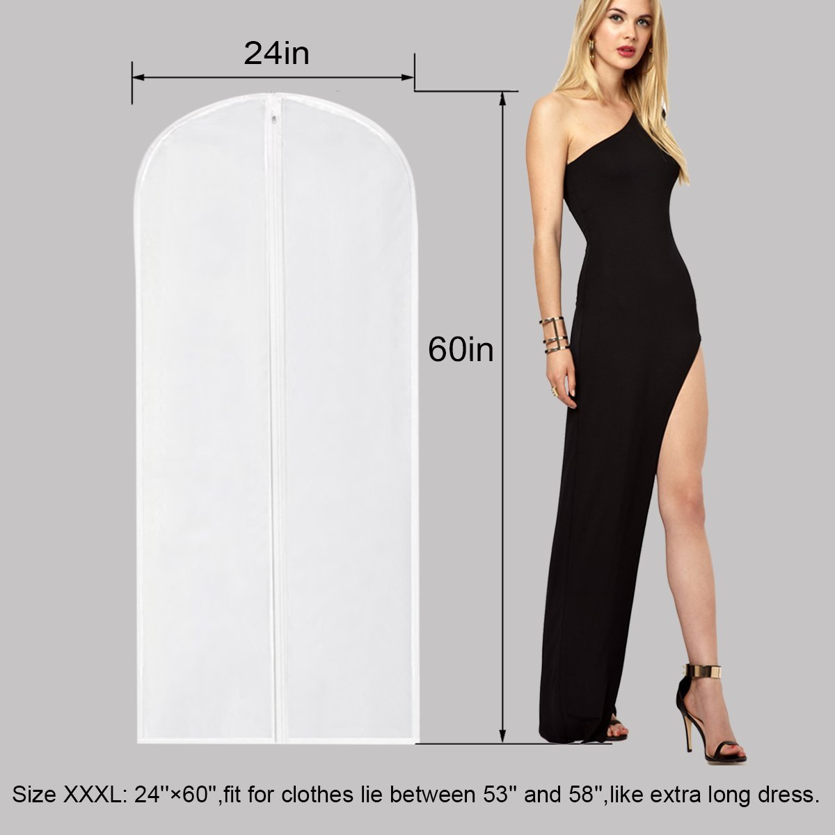 Garment Bag for Long Dress,60 Inch Moth Proof Garment Bag Clear Dust Cover White Breathable Full Zipper For Clothes Storage Closet Pack Of 6 by homeminda (Image #2)