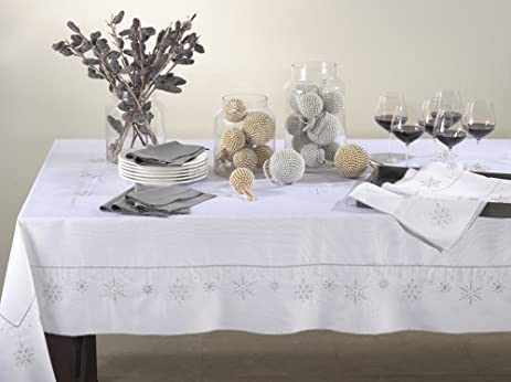 Holiday Design Ice Crystal Snowflake White Rectangular Tablecloth (65u0026quot  ...