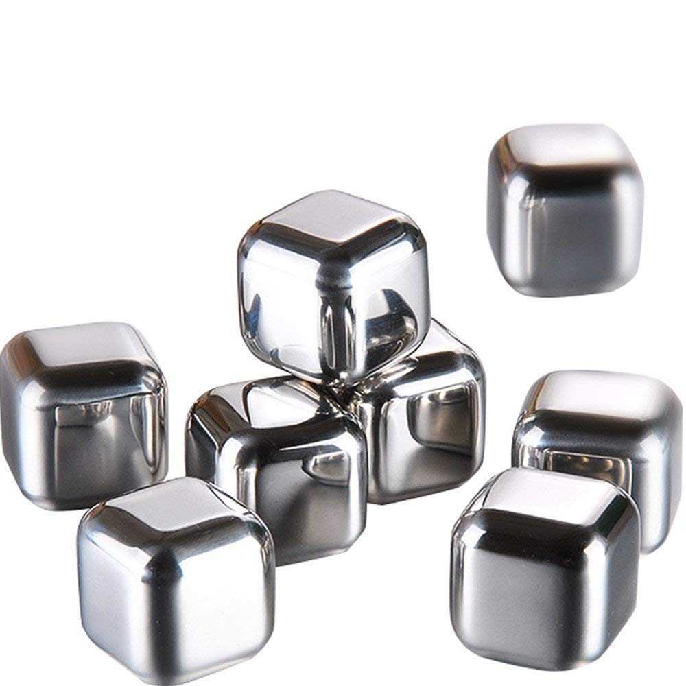 Stainless Steel Whiskey Stones Set of 6 with Plastic Storage Box Reusable Ice Cubes