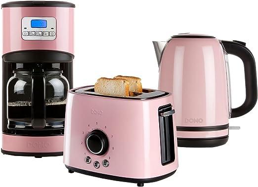 Acero inoxidable Juego de desayuno en diseño retro en color rosa ...