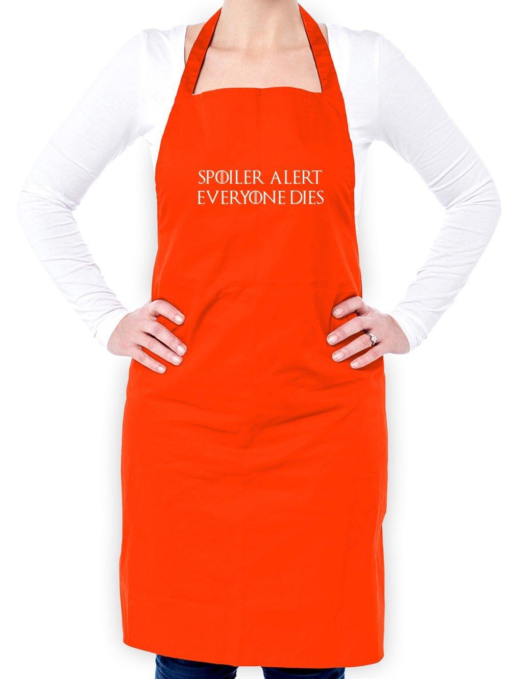 Spoiler Alert Everyone Dies - Unisex Adult Apron - Orange - One Size