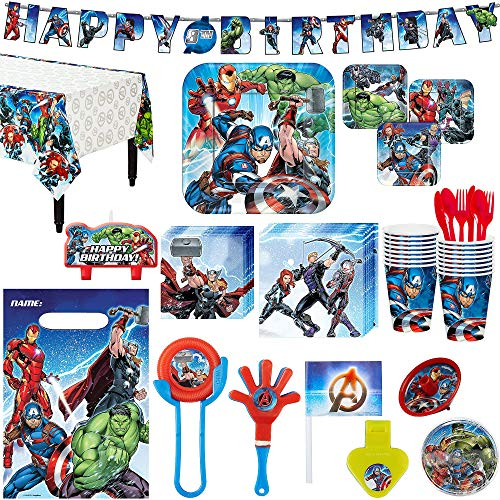 (Avengers Superhero Birthday Party Kit, Includes Happy Birthday Banner and Party Favor Pack, Serves 16, by Party)