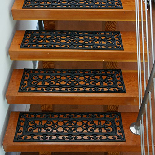 Rubber-Cal 6-Piece Regal Stair Treads Rubber Step Mats, 9.75 by 29.75-Inch, Black (Outdoor Step Tread Mats)