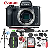 Canon EOS M50 Mirrorless Camera Body with 4K Video (Black) Deluxe 32GB Triple Battery Bundle with Shotgun Mic, Backpack, Tripod and More