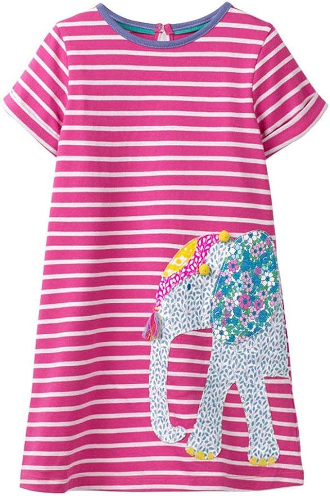 VIKITA Vestidos T-Shirt Manga Larga Algodón Casual Niñas 1-7 años