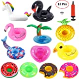 Mattelsen 12 Pcs Posavasos Hinchable de Flotador Unicornio & Flamingo con Bomba Colchonetas y Flotante Juguetes