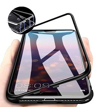 Funda para Samsung Galaxy A8 2018/A530 Cover Magnética Adsorption Carcasa Metal Bumper Cubierta Trasera de Transparente Vidrio Templado 360 Grados ...