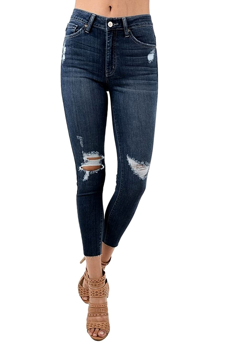 KAN CAN Women's High Rise Destroyed Cropped Skinny Jeans 1 Dark Wash KC8314D