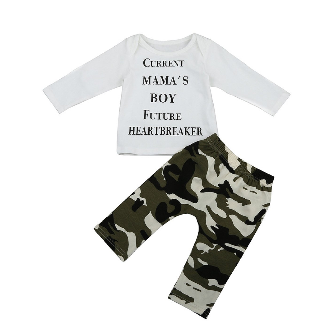 Sumen Newborn Kids Baby Boys Outfits Clothes Letter T-shirt Tops+Camouflage Pants Set bessky