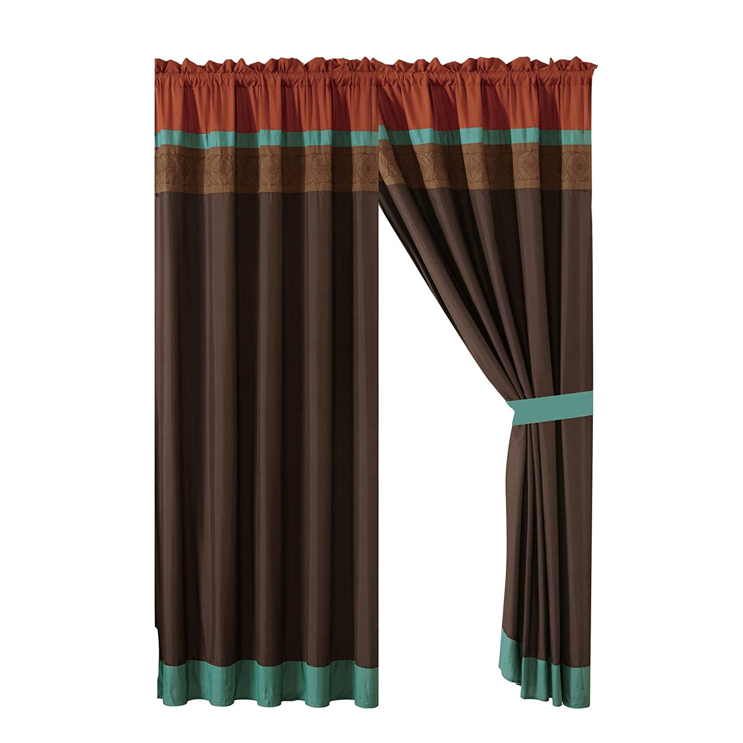 HGS 4-Pc Adrian Geometric Floral Embroidery Curtain Set Teal Rust Brown Mocha Drape Sheer Liner