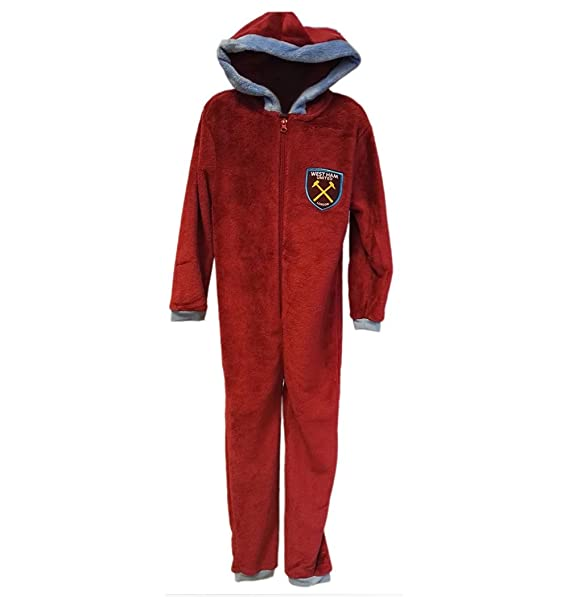 Mens Official West Ham United Football Club Fleece All in One Jumpsuit Onesie Size Small Medium Large XL