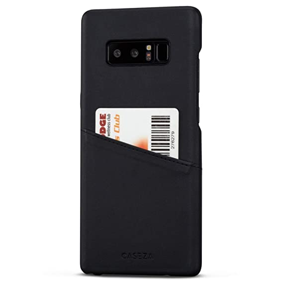 Galaxy Note 8 Case Black - CASEZA Venice PU Leather Cover - Premium Vegan Leather Wallet
