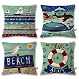 ONWAY Ocean Park Cotton Linen Theme Decorative Pillow Cover Case D 18'' X 18'' Square Shape-ocean-beach-sea-print-starfish-seahorse-voyage, 4 Pack (Sea7)