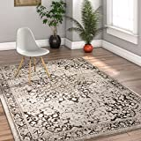 Well Woven Coverly Grey & Beige Vintage Medallion Traditional Persian Oriental 4x6 (3'11'' x 5'7'') Area Rug Neutral Modern Shabby Chic Thick Soft Plush Shed Free