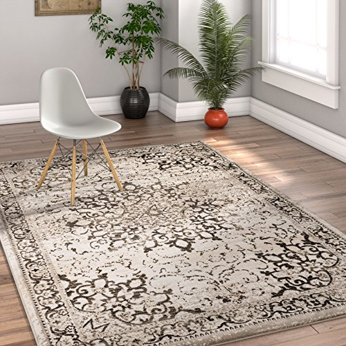 Well Woven Coverly Grey & Beige Vintage Medallion Traditional Persian Oriental 4x6 (3'11'' x 5'7'') Area Rug Neutral Modern Shabby Chic Thick Soft Plush Shed Free by Well Woven