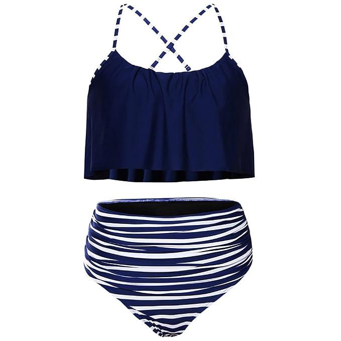 4890ac62bac Amazon.com: GAMISS Women's Dainty Ruffle Thong Tops and Striped High Waist  Bottom Two Piece Bikini Set(S-2XL): Clothing