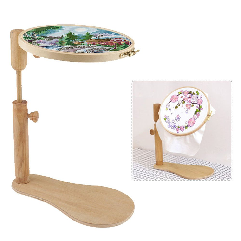 cheerfullus Adjustable Round Cross-stitch Embroidery Frame Hoop Wooden Tabletop Stand Frame