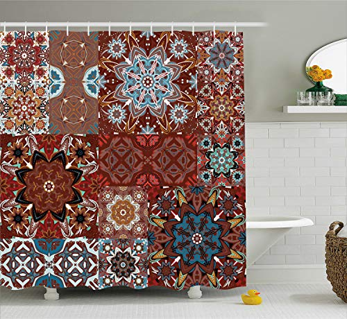 Eighty Clothes Ideas (Ambesonne Victorian Shower Curtain, Classic Victorian Floral Motives and Mandala Pattern, Cloth Fabric Bathroom Decor Set with Hooks, 84