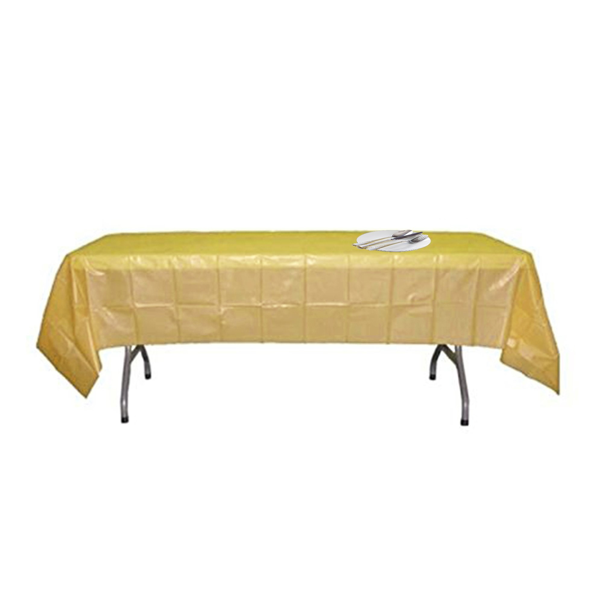 5 Pack Disposable Plastic Tablecloths Table Cloth Covers for Creative Party, 54 x 108 inches each(gold)