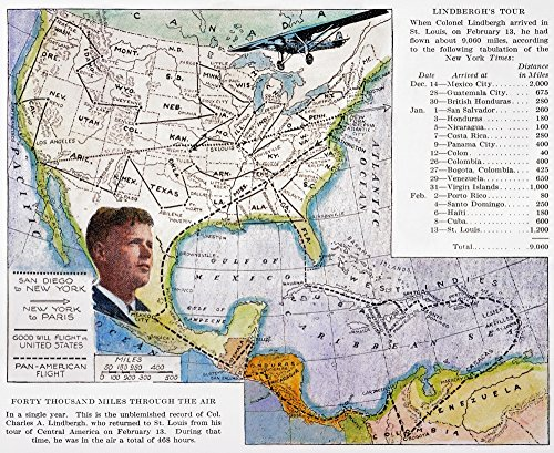 Charles Lindbergh N(1902-1974) American Aviator A Map Of LindberghS Goodwill Tours In The United States And Central America From An American Magazine Of 1928 Poster Print by (18 x 24) (Magazine Aviators)
