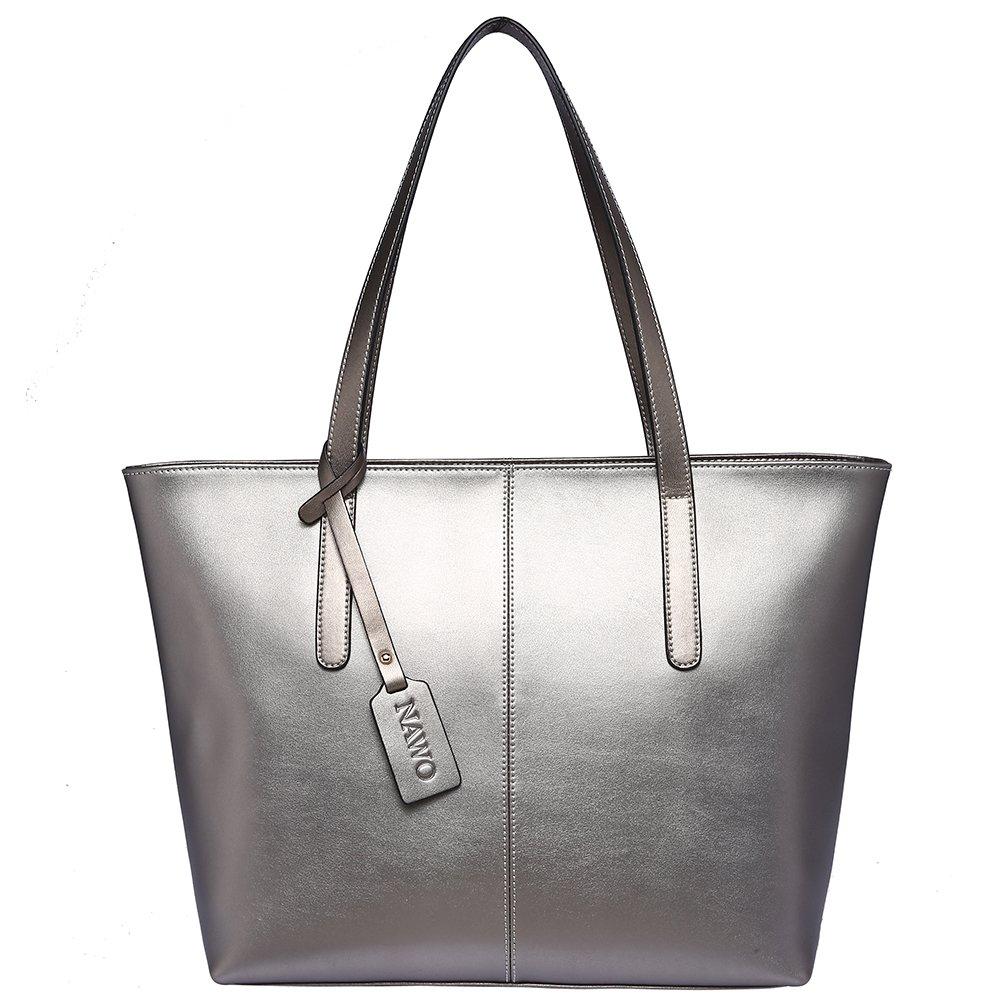 [NAWO] トートバッグ レディース 本革 ハンドバッグ レザー 人気 a4 通勤 シンプル バッグ B0757L6L6K Elegant Gray Elegant Gray