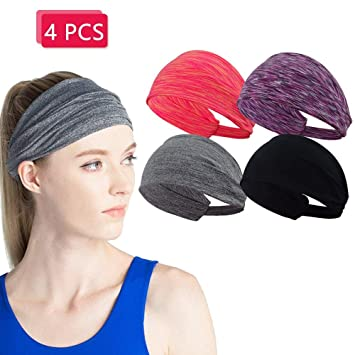 3c8ca0c0c6fb Amazon.com  4 Pack Sport Yoga Headbands Exercise Hair Bands for ...