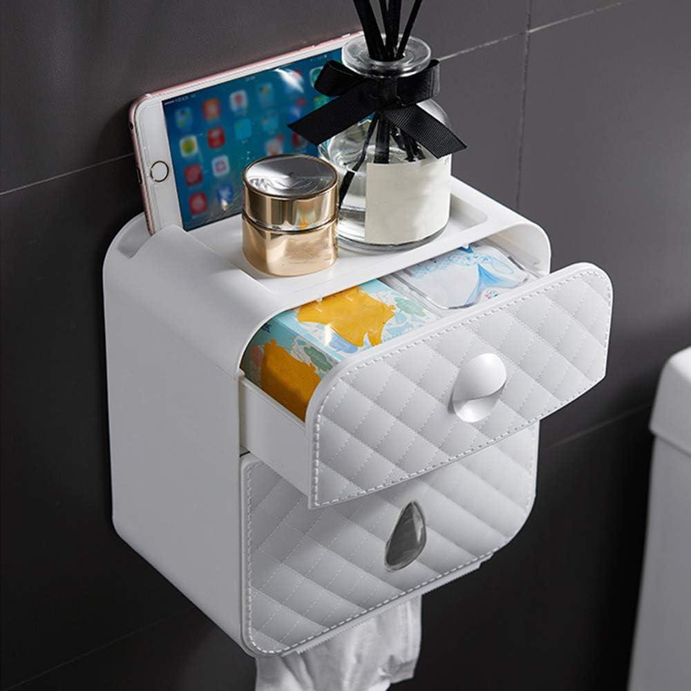 Decdeal Paper Towel Dispenser Wall Mounted No-drilling Paper Towel Holder Bathroom Coreless Toilet Tissue Dispenser Garbage Bags Holder Home Paper Extraction Dispenser