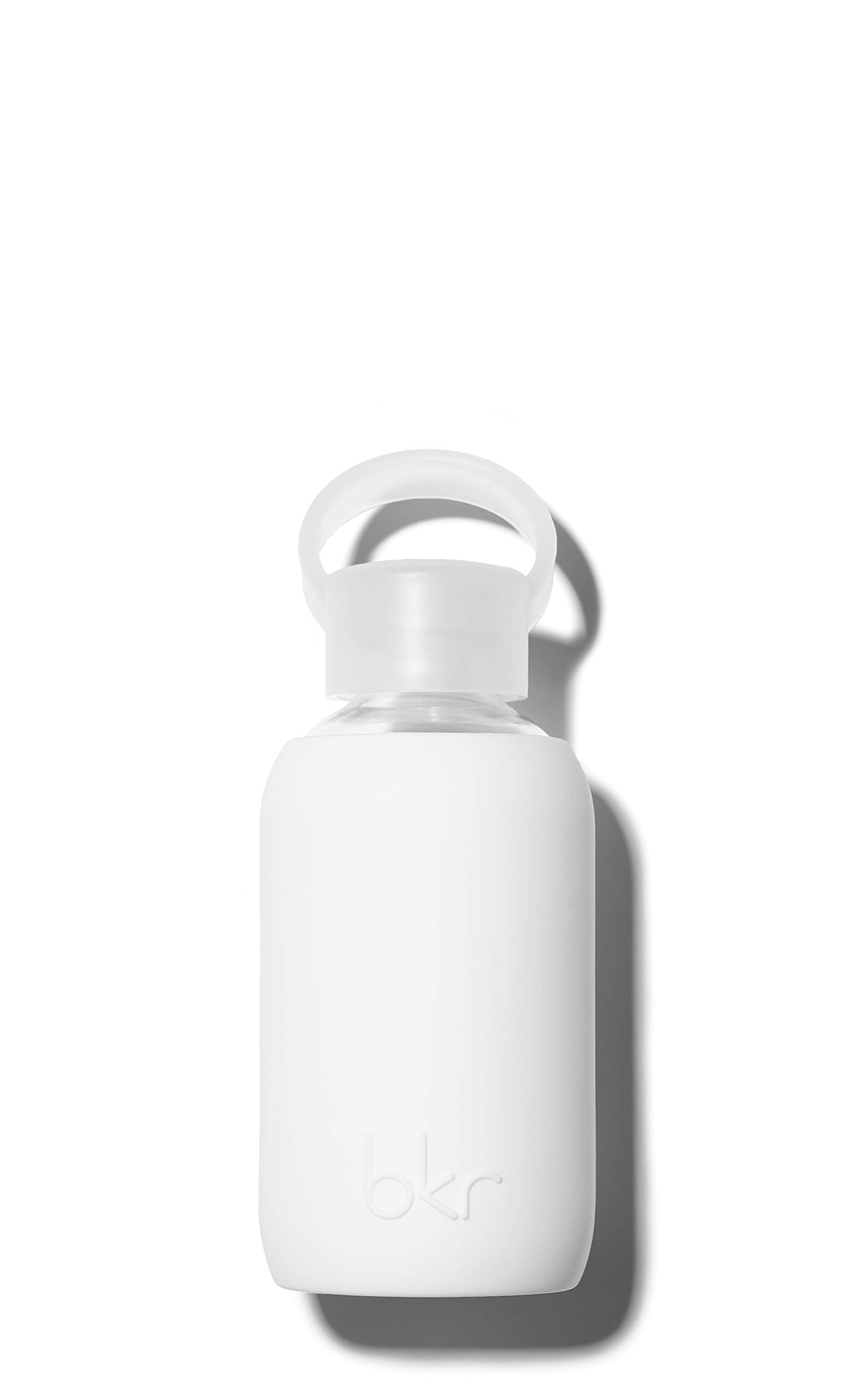 bkr Winter Glass Water Bottle with Smooth Silicone Sleeve for travel, Narrow Mouth, BPA-Free & Dishwasher Safe, Opaque White, 8 oz / 250 mL by bkr (Image #1)