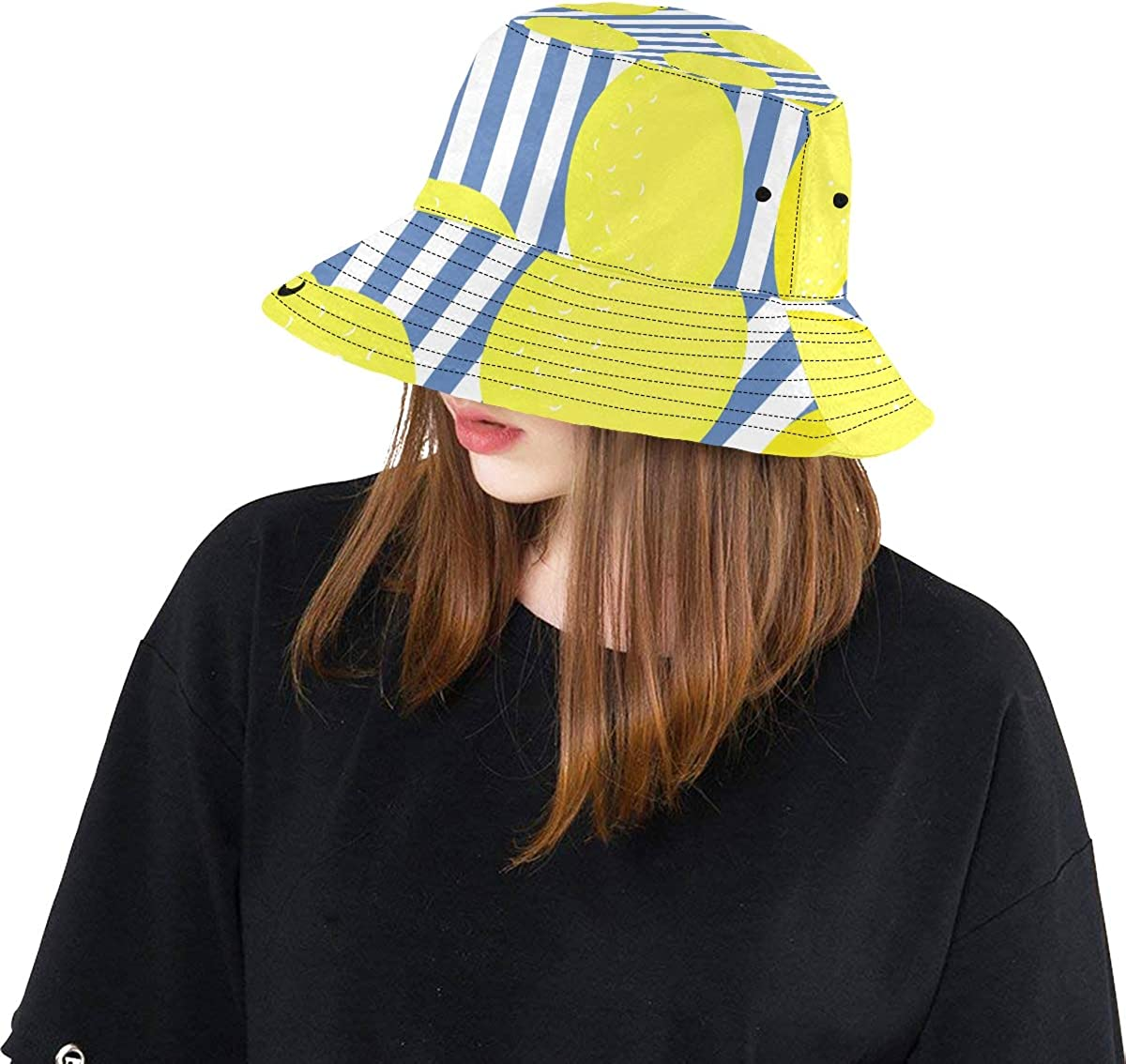 Strip Lemon Yellow Fruit Summer Unisex Fishing Sun Top Bucket Hats for Kid Teens Women and Men with Packable Fisherman Cap for Outdoor Baseball Sport Picnic