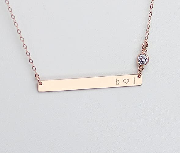 f2e3a94a648a80 Long Skinny Bar Necklace, Personalized Engraved Nameplate Necklace, CZ  Diamond Jewelry, Thin Gold Name Bar Necklace, 14k Rose or Gold Fill, 925  Sterling ...
