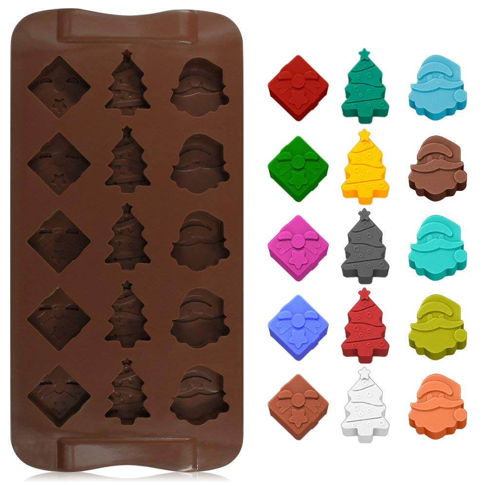 4 Pack Silicone Chocolate Candy Molds Baking Jelly Molds Cake Decoration and Ice Cube Tray Shining Star Leaf Gift Box Christmas Tree Snowman Santa