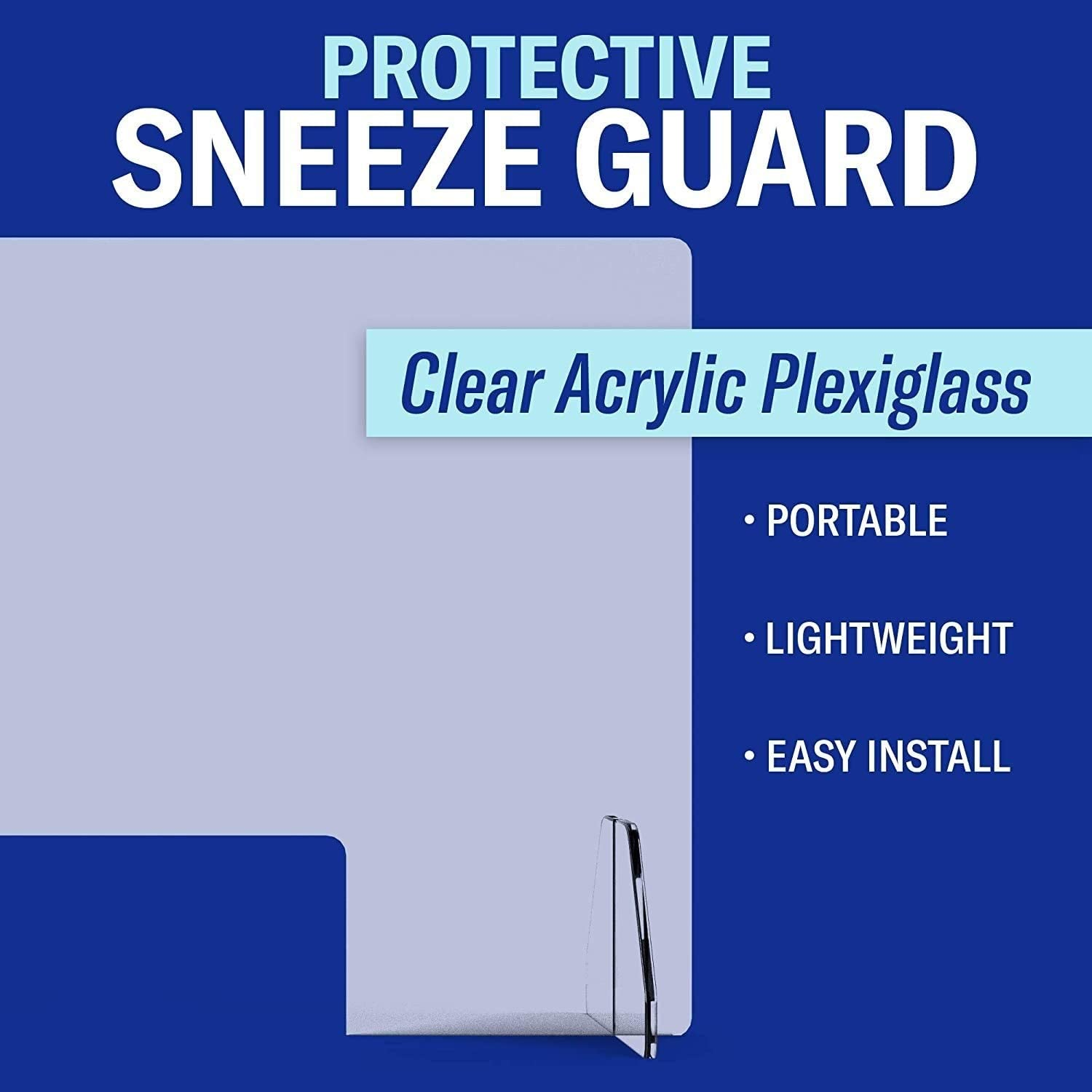 Sneeze Guard 12 16 18 Wide Protective Freestanding Shield Guards Against Sneezing and Coughing for Counters with Transaction Window for Offices and Stores Size : 16 w x 24 h