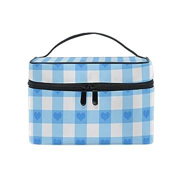 Amazon.com: Bolsa de cosméticos azul Gingham cuadros a ...