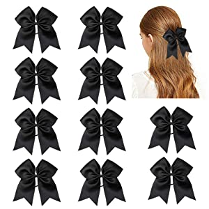 CN Girls Large Cheer Bow with Ponytail Holder for Cheerleading Girl Pack of 10 Black
